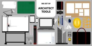 Grupo grande de ferramentas do arquiteto Material do trabalho & do projeto Ilustração do vetor Fotos de Stock