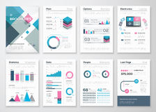 Grupo grande de folhetos do negócio e de elementos infographic do vetor
