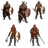 Grupo grande de guerreiros de viquingue com protetores e espadas e ilustração realística isolada machados ilustração royalty free
