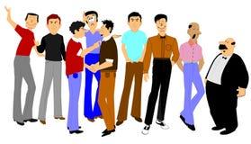Grupo grande de hombres en la discusión ilustración del vector