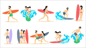 Grupo grande de ilustrações do vetor dos surfistas ilustração do vetor