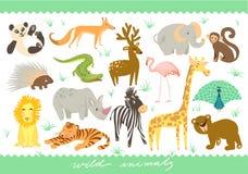 Grupo grande de ilustração do vetor Animais bonitos do jardim zoológico Fotos de Stock Royalty Free