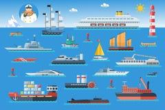 Grupo grande de navios do mar Molhe o transporte e o transporte marítimo no estilo liso do projeto Ilustração do vetor ilustração do vetor