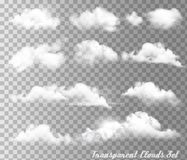Grupo grande de nuvens e de sol diferentes transparentes ilustração do vetor