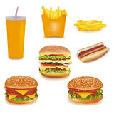Grupo grande de produtos do fast food. Fotografia de Stock Royalty Free
