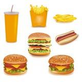 Grupo grande de produtos do fast food. Fotografia de Stock Royalty Free
