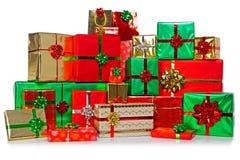 Grupo grande de regalos de Navidad Imagen de archivo libre de regalías