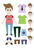 Grupo grande de roupa para o construtor do menino Penteado, vestido, sapatas, calças, t-shirt Vetor Imagens de Stock Royalty Free