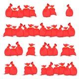Grupo grande de sacos Santa Claus ilustração do saco do vermelho do Natal Coleção do ano novo Isolado no fundo branco Fotografia de Stock
