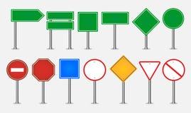 Grupo grande de sinais de tráfego ilustração stock