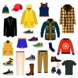 Grupo grande do ícone da forma da roupa e dos acessórios Grupo do ícone da ilustração do vetor da roupa dos homens ilustração stock