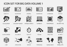 Grupo grande do ícone dos dados no projeto liso ilustração stock
