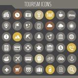 Grupo grande do ícone do turismo, linha na moda coleção dos ícones ilustração stock