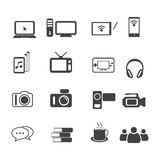 Grupo grande do ícone dos dados, ícones do entretenimento e dos dispositivos eletrónicos ajustados Imagens de Stock Royalty Free
