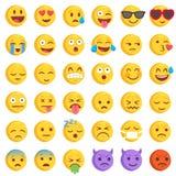 Grupo grande do Emoticon liso áspero do vetor Imagens de Stock
