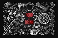Grupo grande do vetor do alimento e da bebida ilustração royalty free