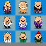 Grupo grande do vetor de nove ursos dos desenhos animados Fotografia de Stock Royalty Free