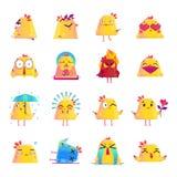 Grupo grande dos ícones do personagem de banda desenhada da galinha Fotografia de Stock