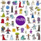 Grupo grande dos caráteres do monstro dos desenhos animados ilustração royalty free