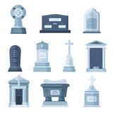 Grupo grave de pedra da construção do vetor dos túmulos Imagens de Stock Royalty Free