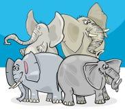 Grupo gris del personaje de dibujos animados de los elefantes stock de ilustración
