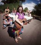 Grupo Groovy com cantor fêmea Imagens de Stock Royalty Free