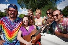 Grupo Groovy com cantor fêmea Foto de Stock