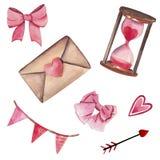 Grupo Handdrawn da aquarela de elementos isolados no fundo branco Elementos cor-de-rosa bonitos para o dia de Valentim do St ilustração royalty free