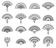 Grupo handheld de papel dos ícones do fã, estilo do esboço ilustração stock