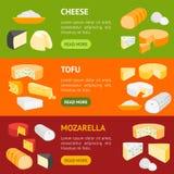 Grupo horizontal da bandeira da leiteria do produto do queijo Vetor ilustração stock