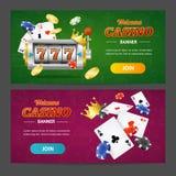 Grupo horizontal da bandeira realística do casino Vetor Imagem de Stock