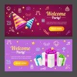Grupo horizontal do cartão bem-vindo do molde do partido Vetor Foto de Stock Royalty Free