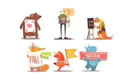 Grupo humanizado bonito dos animais, animais engraçados com ilustração diferente do vetor dos sinais ilustração do vetor