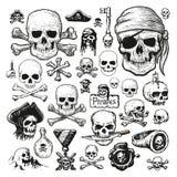 Grupo ilustrado de crânios do pirata Foto de Stock