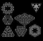 Grupo impossível do vetor dos símbolos da geometria ilustração stock