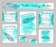 Grupo imprimível da tipografia do casamento do vetor de cartões com a pena tirada mão do zentangle Fotografia de Stock