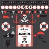 Grupo imprimível de elementos do partido do pirata do vintage Fotografia de Stock