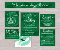 Grupo imprimível esmeralda da tipografia do casamento do vetor de cartões Imagem de Stock Royalty Free