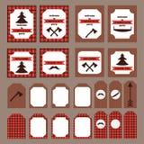 Grupo imprimível de elementos do partido do lenhador do vintage Moldes, etiquetas, ícones e envoltórios Fotos de Stock