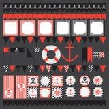 Grupo imprimível de elementos do partido do pirata do vintage Imagens de Stock Royalty Free