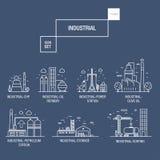 Grupo industrial grande do ícone com elementos gás do projeto, azeitona, limpa, Imagem de Stock Royalty Free