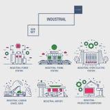 Grupo industrial grande do ícone com elementos gás do projeto, azeitona, limpa, Imagem de Stock