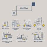 Grupo industrial grande do ícone com elementos gás do projeto, azeitona, limpa, Imagens de Stock Royalty Free