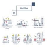Grupo industrial grande do ícone com elementos gás do projeto, azeitona, limpa, Fotos de Stock