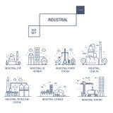 Grupo industrial grande do ícone com elementos gás do projeto, azeitona, limpa, Fotografia de Stock
