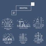 Grupo industrial grande do ícone com elementos gás do projeto, azeitona, limpa, Foto de Stock Royalty Free