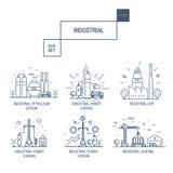 Grupo industrial grande do ícone com elementos gás do projeto, azeitona, limpa, Fotografia de Stock Royalty Free