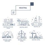 Grupo industrial grande do ícone com elementos gás do projeto, azeitona, limpa, Fotos de Stock Royalty Free