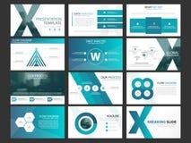 Grupo infographic do molde dos elementos da apresentação do negócio, projeto horizontal incorporado do folheto do informe anual ilustração stock