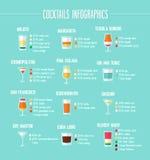 Grupo infographic dos cocktail Imagem de Stock